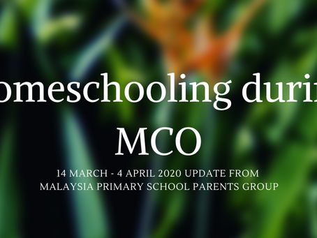 Homeschooling During MCO Period