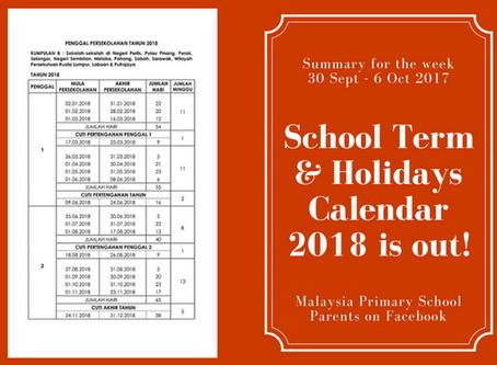 School Holidays 2018
