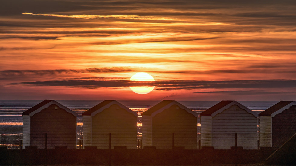 St Annes Beach Huts sunset