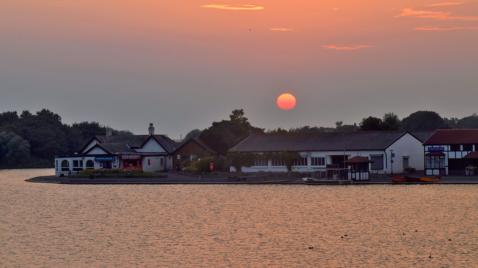Red Sun over Fairhaven Lake, Lytham St Annes