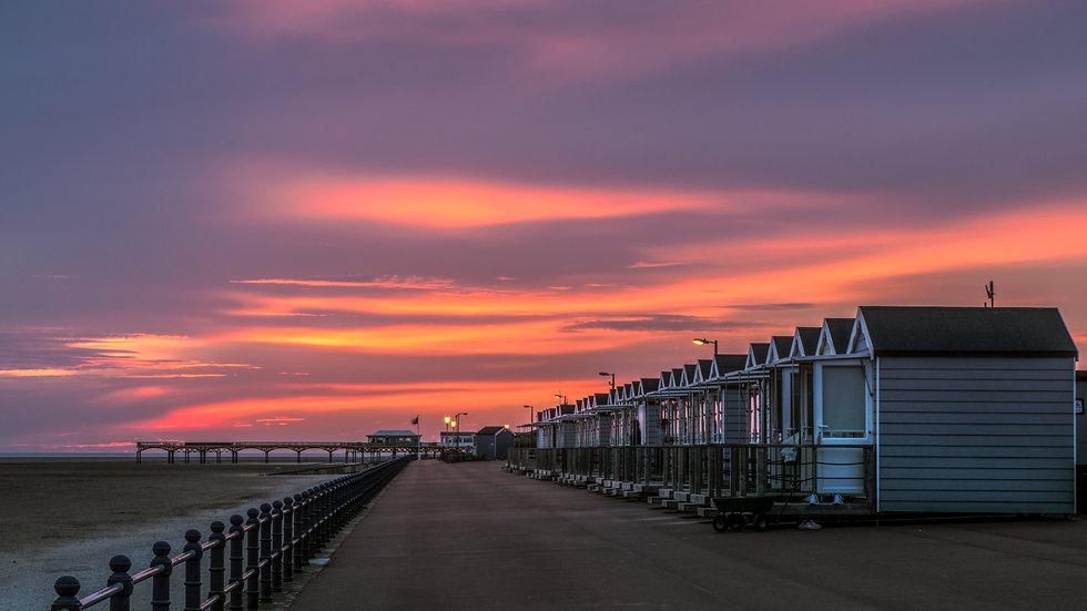 Beach Huts after sunset