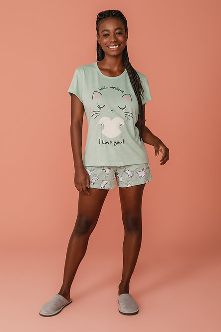 6764 Pijama Feminino T-shirt
