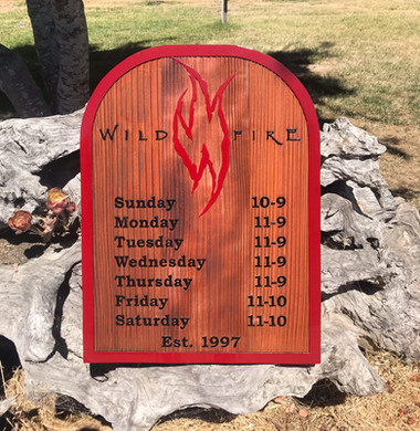 Sandblasted Redwood Sign