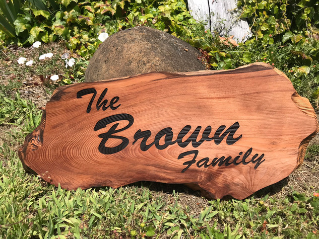 REDWOOD, LIVE EDGE, FAMILY NAME SIGN