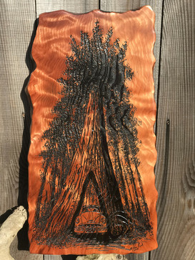 Dive Thru Tree Engraved on Redwood