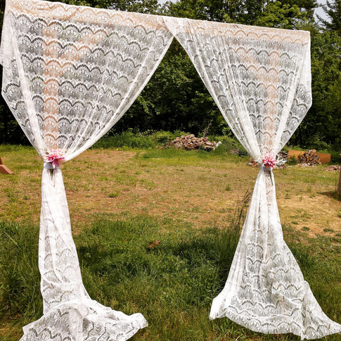 Wooden Arbor with Lace Drapery
