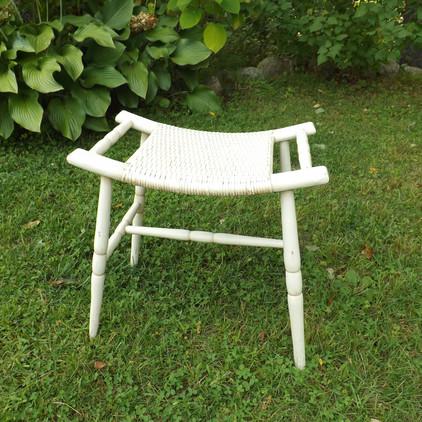 White wicker Bench