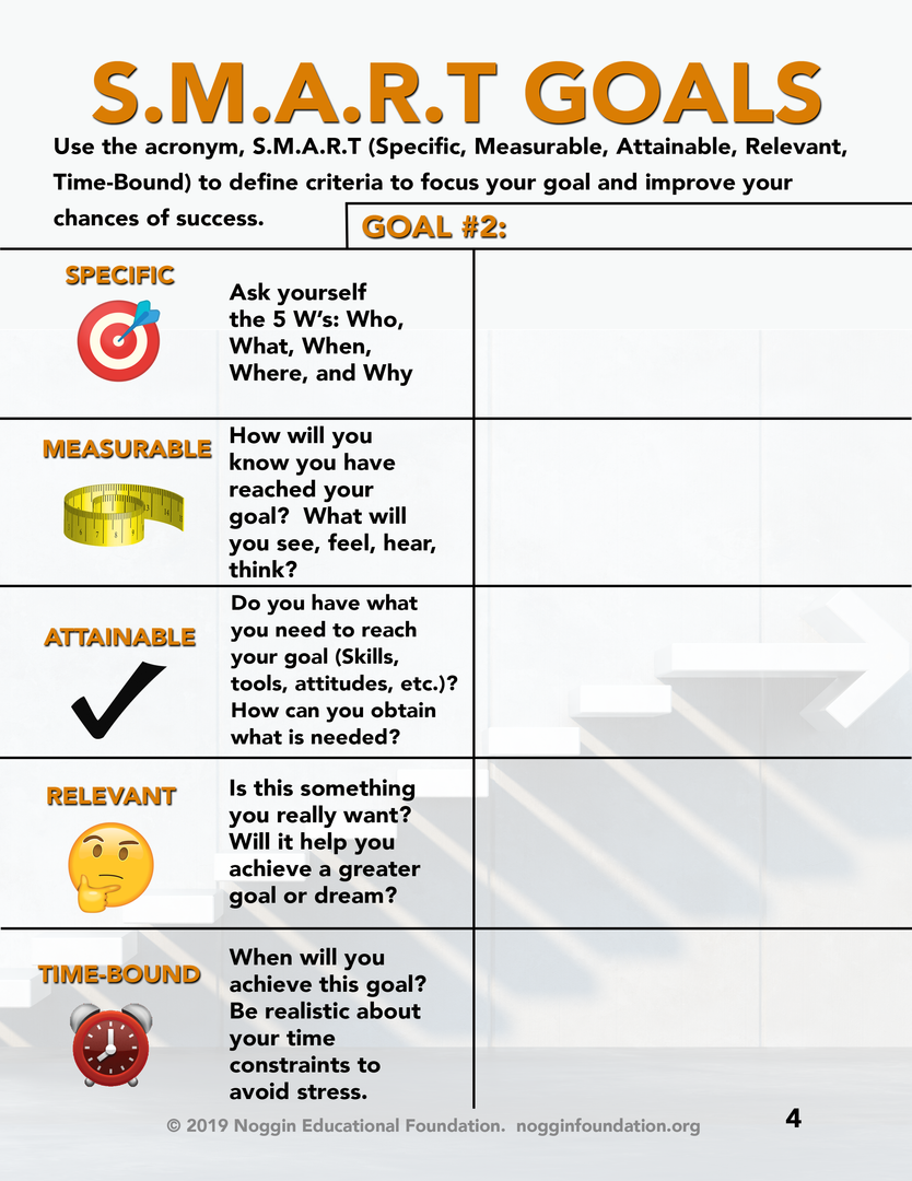 SMART goals worksheet GOAL#2