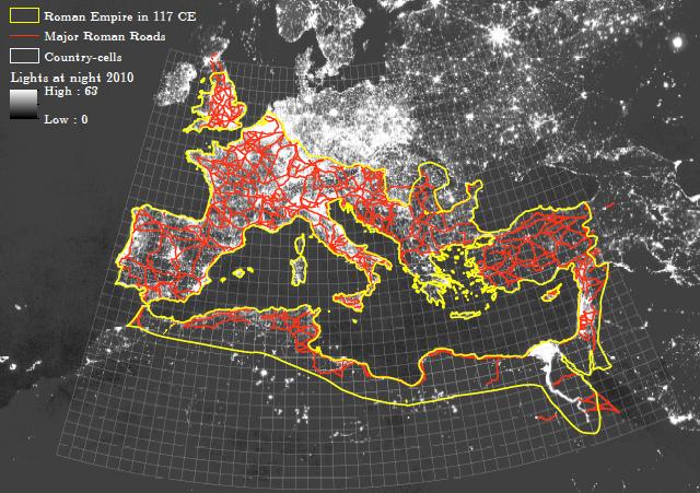 Estradas principais do Império Romano - Fonte: Dalgaard et al. 2018