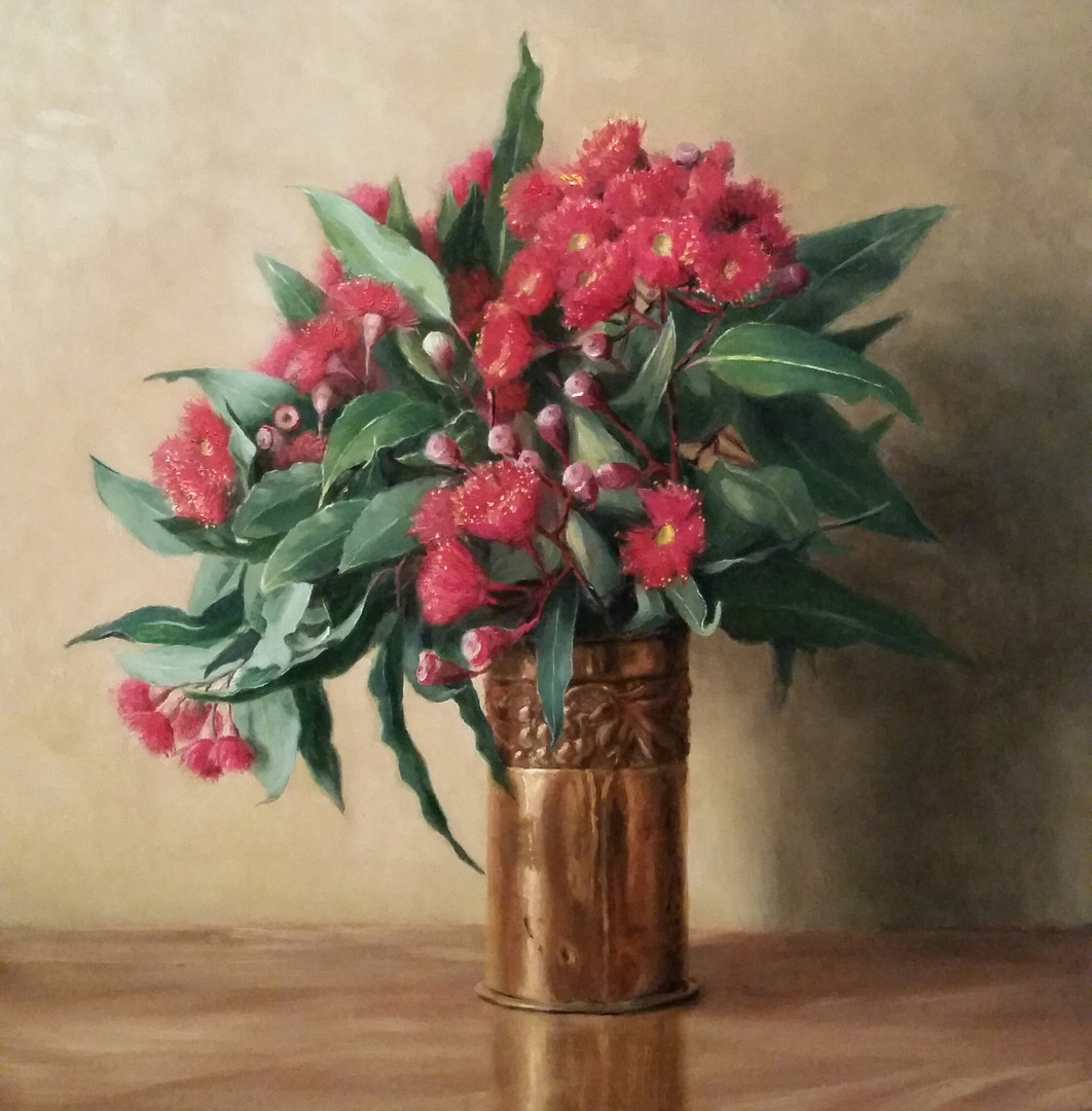 Flowering gum in copper vase