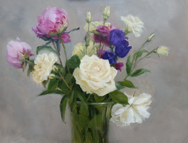 Peonies, lysianthus and roses