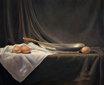 Pewter dish and eggs