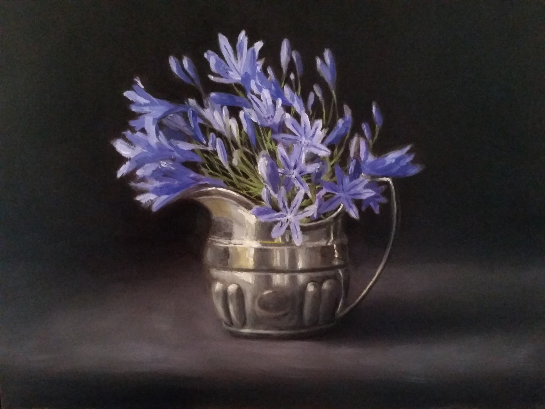 Agapanthus in silver jug