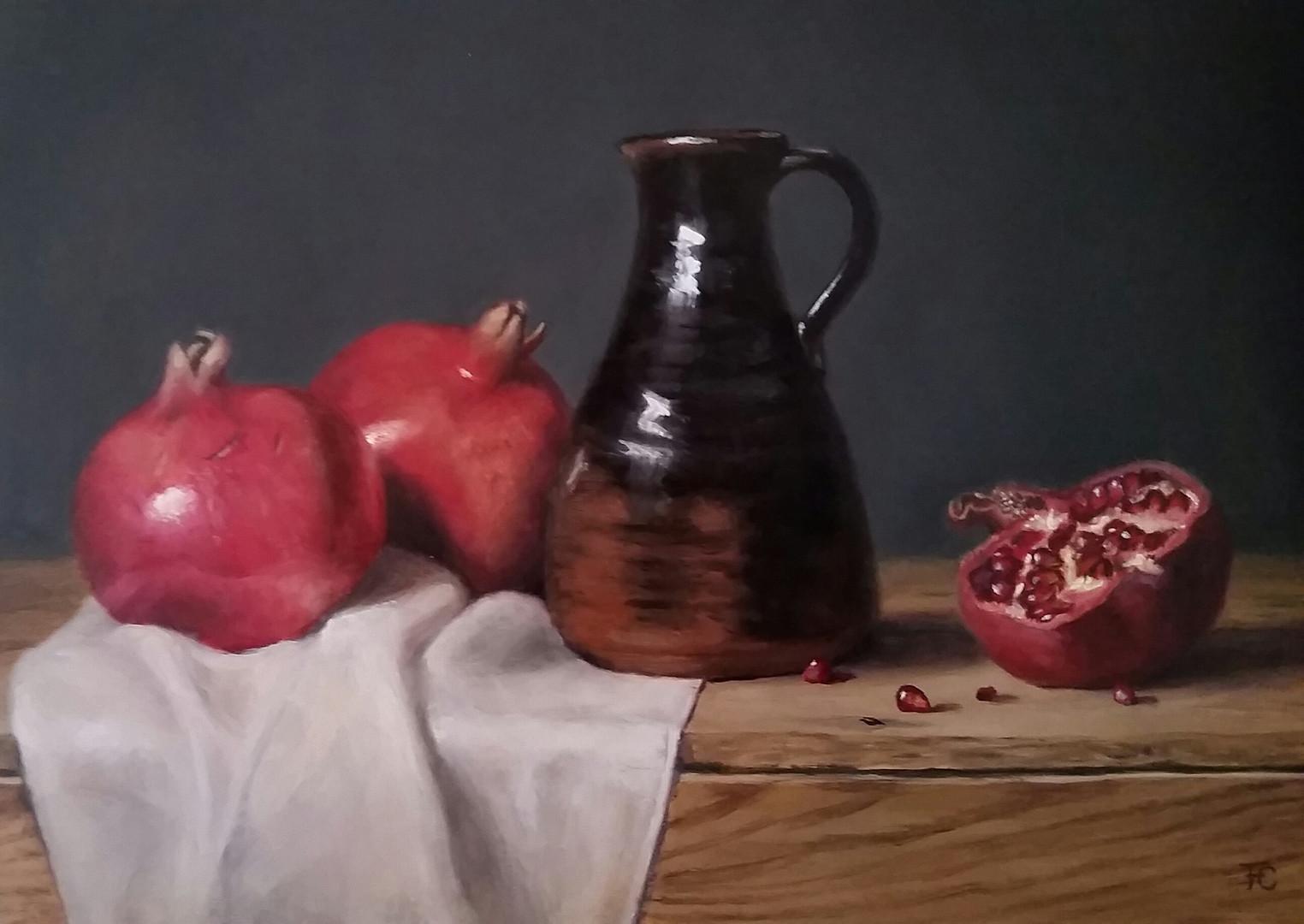 Jug and pomegranates