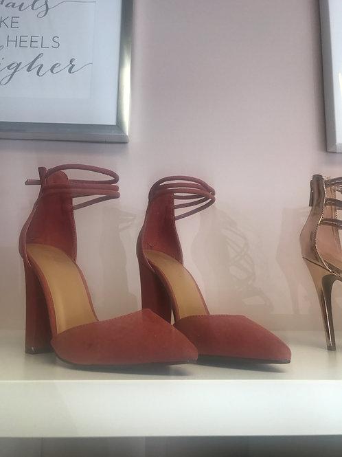 Pink Suede Platform Heels