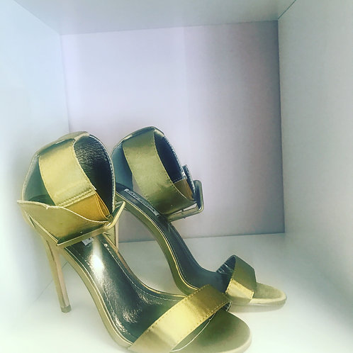 Green Satin High Heels