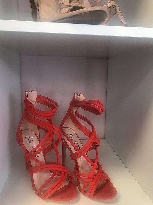 Orange Suede High Heel