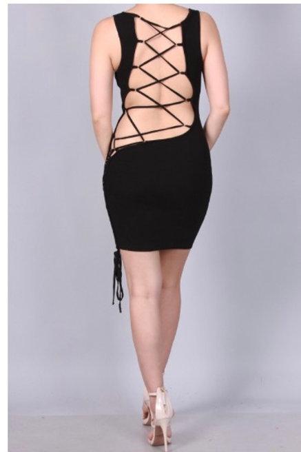 Black Lace Up Back Dress