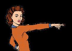 Blair orange jumper pointing right vecto