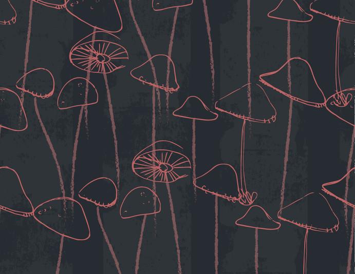 Repeat pattern - 'Mushroom' in Navy