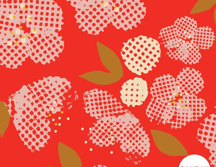 Repeat pattern - 'Bright Blossom' in Rouge