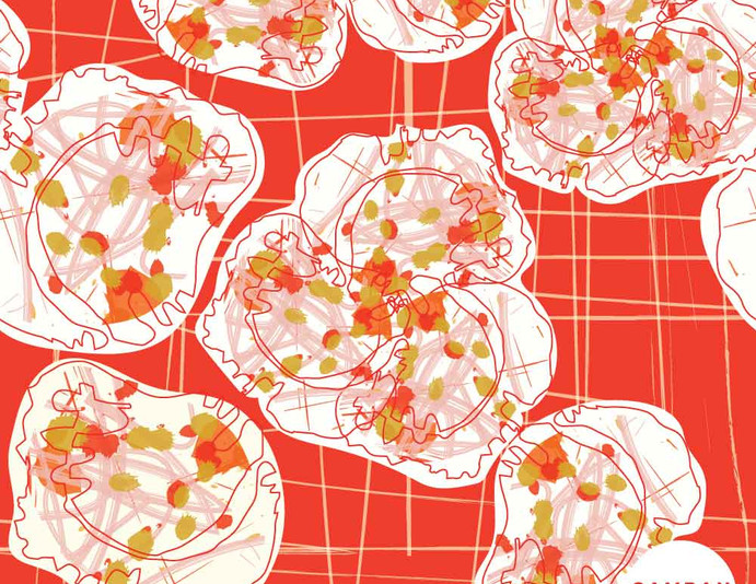 Repeat pattern - 'Big Petals' in Crimson