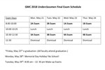 GMC 2018 Underclassmen Final Exam Schedule