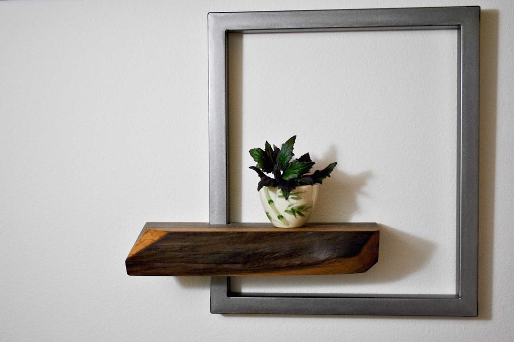 modern wood and metal shelf