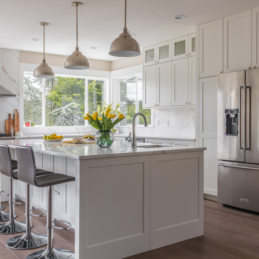 White kitchen cabinets: after