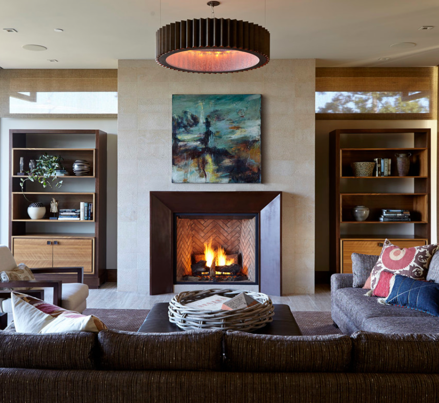 how to hang art above mantle