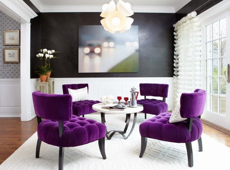 purple accents in living room