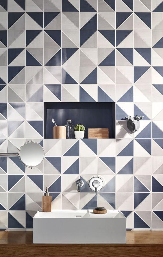 Blue geometric bathroom tile
