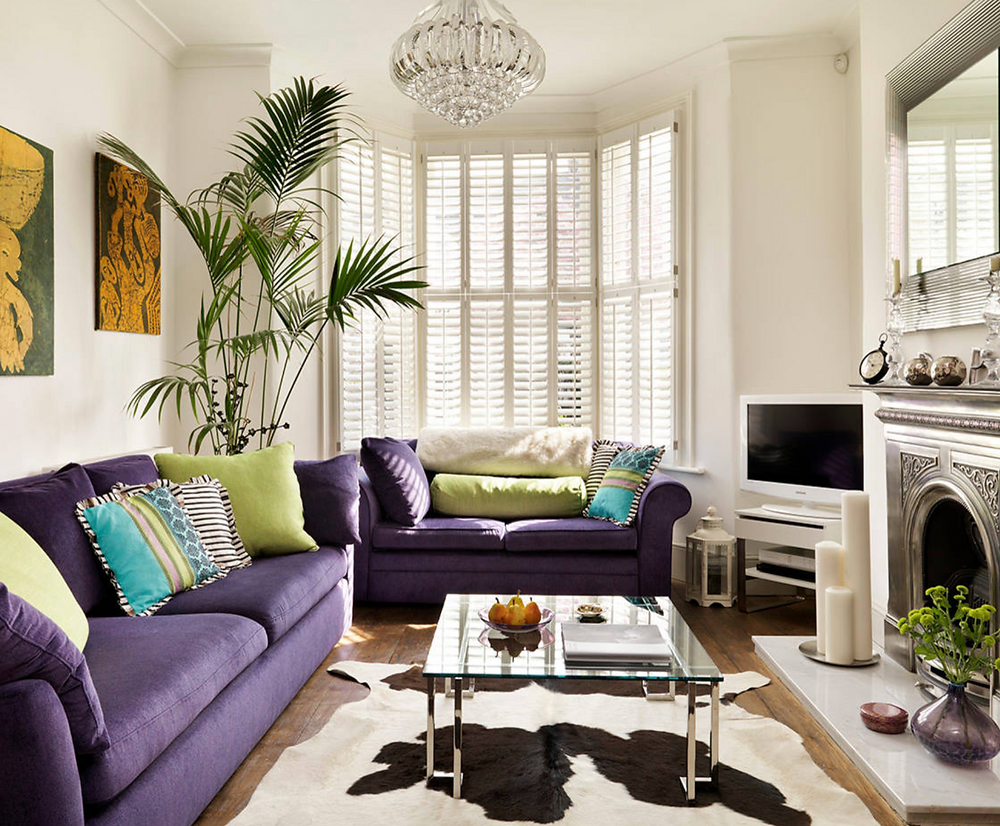 purple living room furniture