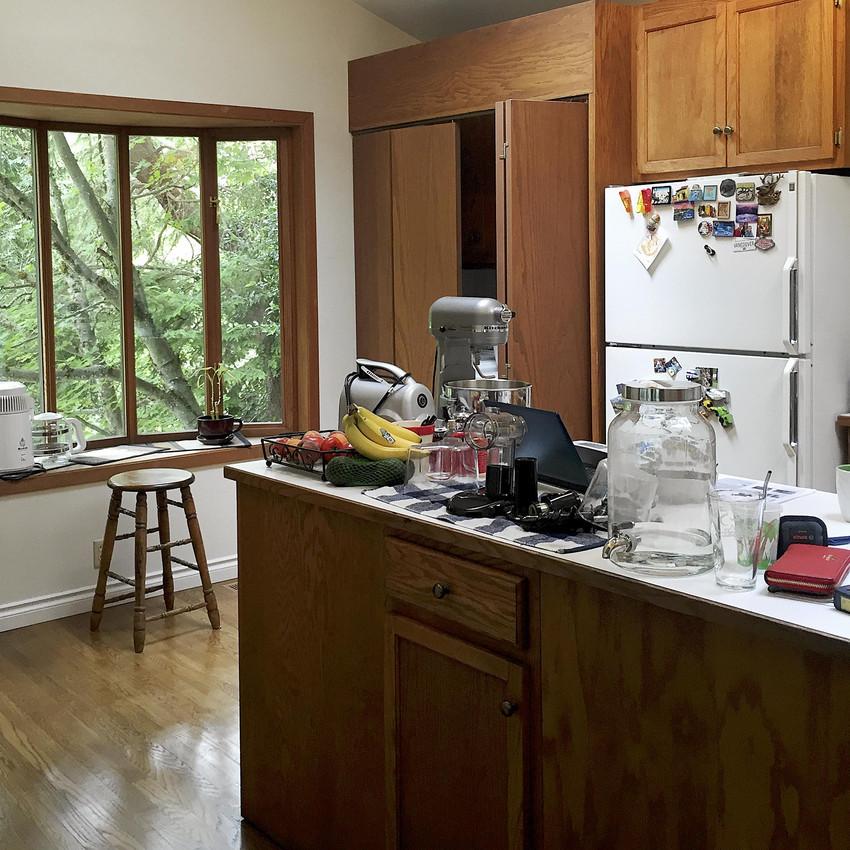 Kitchen redesign: oak cabinets