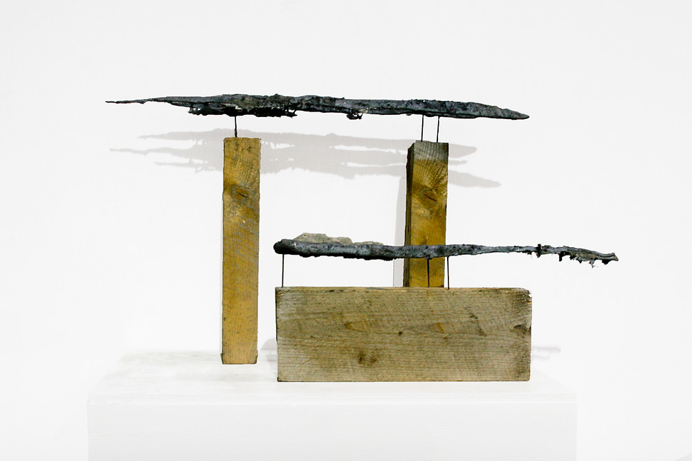 contemporary metal and wood sculpture