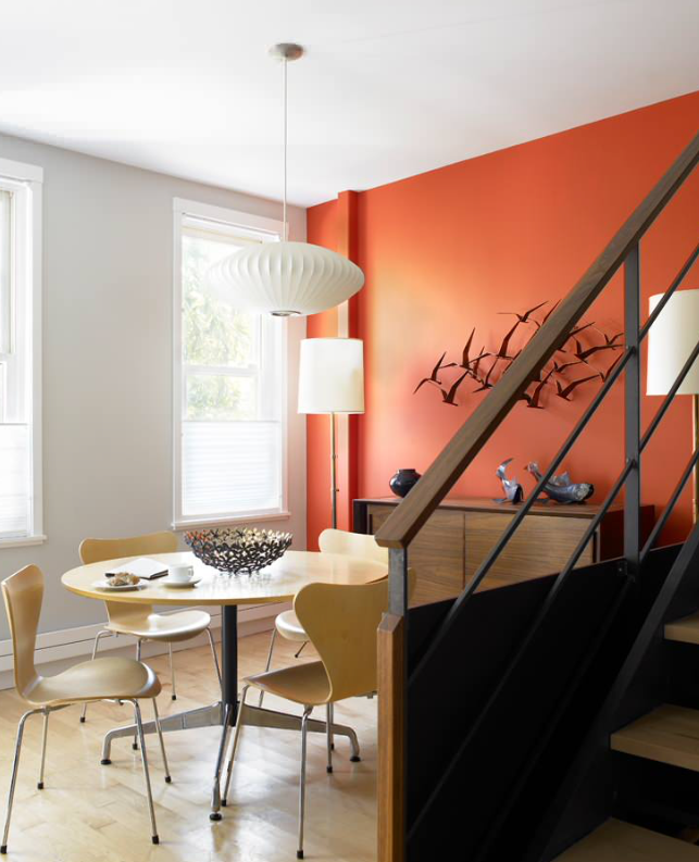 matte orange accent wall