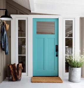 turquoise exterior door