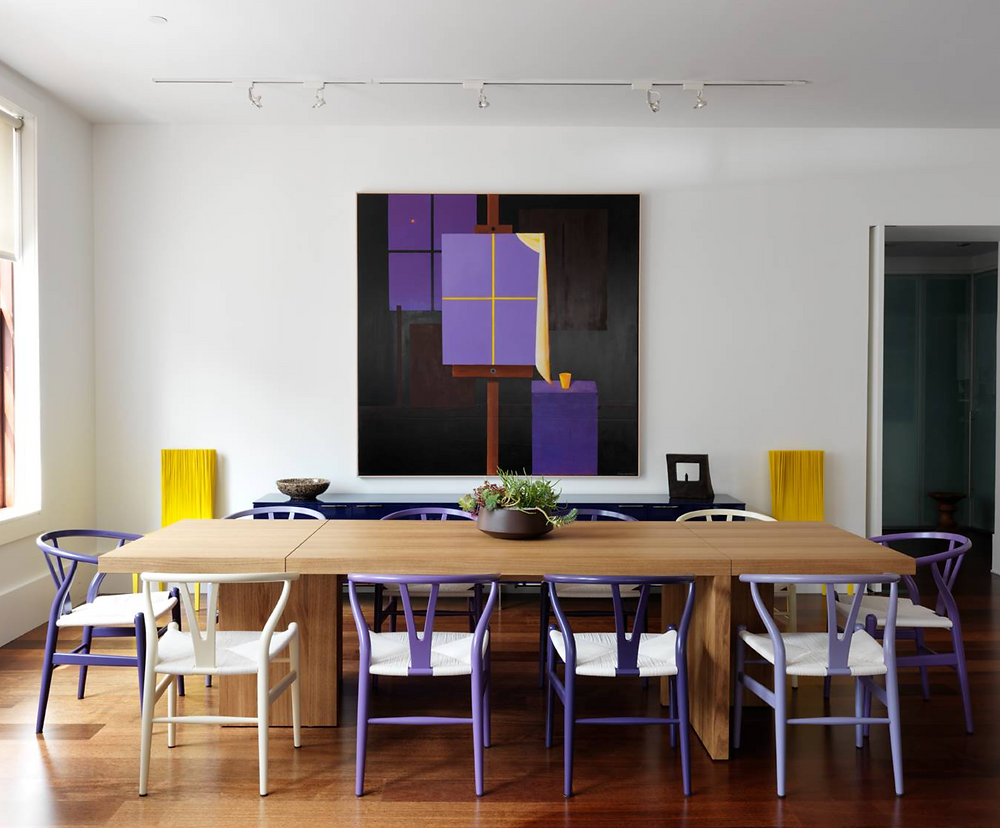 purple accents dining room