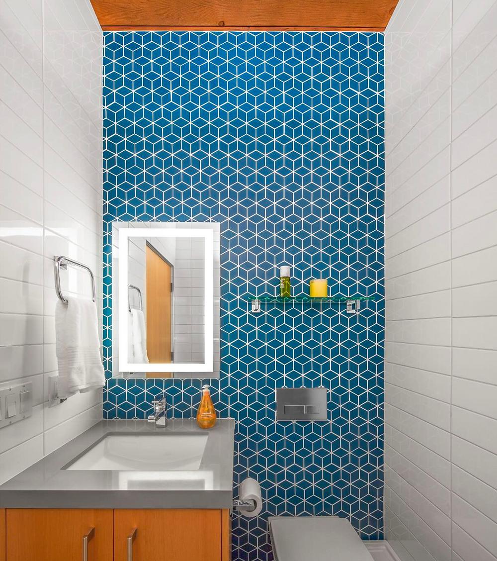 blue bathroom pattern tile