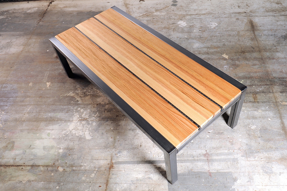 modern handmade wood and metal bench