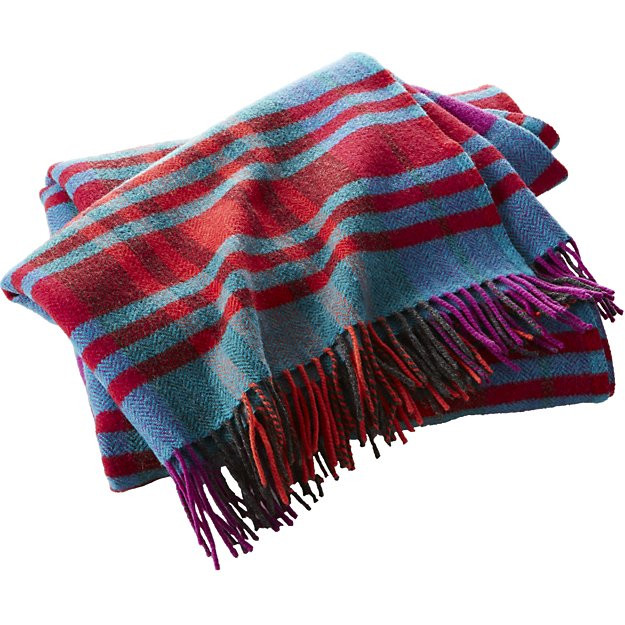 striped lambswool plaid throw