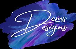 Dem'S Designs Logo, words in cursive script on top of purple water color splotch.