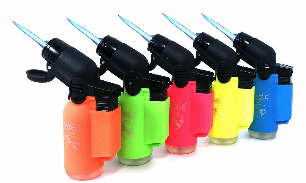 (Assorted colors) NEON Angle Eagle Jet Flame Butane Torch Lighter Refillable