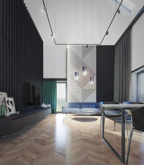 Wnętrze - salon dwykondygnacyjny II