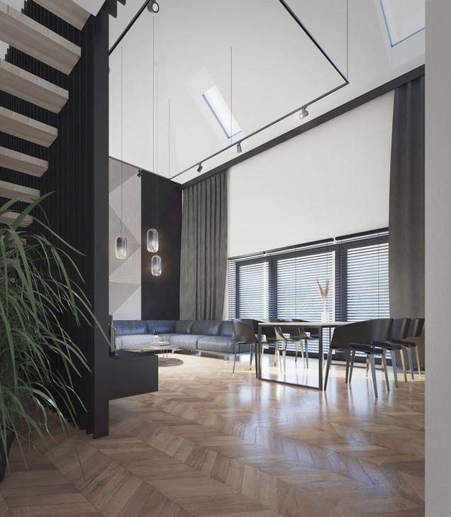 Wnętrze - salon dwykondygnacyjny I