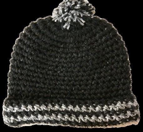 Bonnet ponpon gris / brun