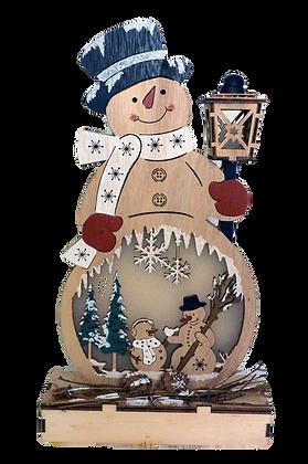 Bonhomme de neige lumineux en bois