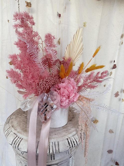 Dried Vase Arrangement- Small Coloured