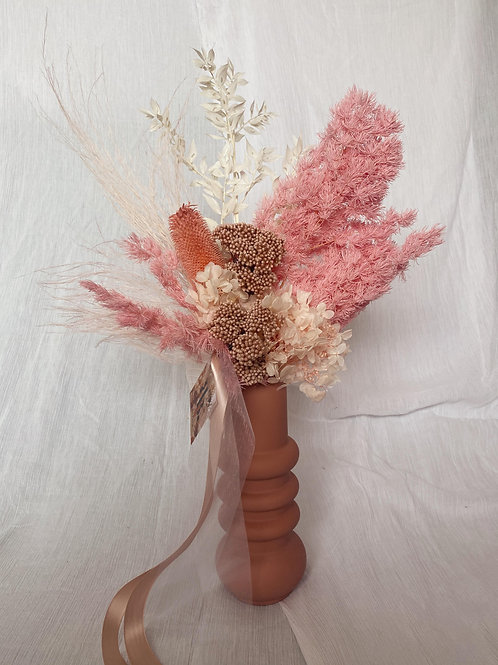 Dried Vase Arrangement-Pink Ceramic