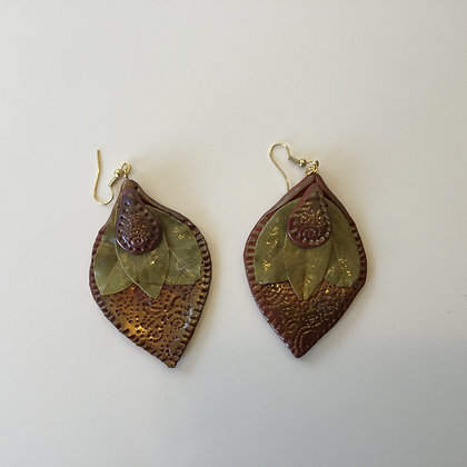 Terracotta bayleaf earrings
